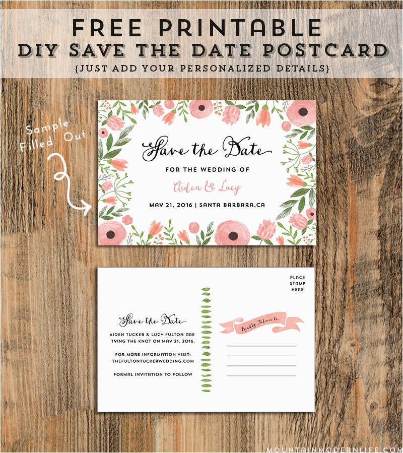 free printable diy save the date postcard