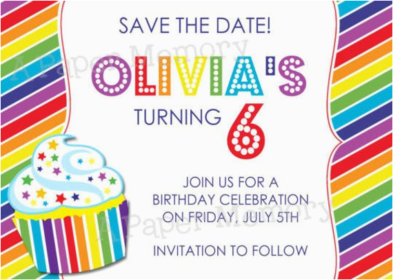 rainbow party invitation birthday save
