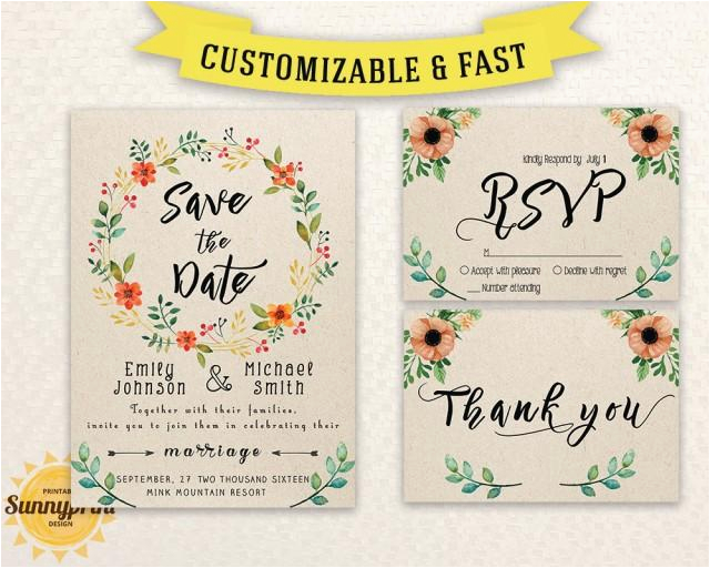 wedding invitation template download printable wedding invitation set wedding invite template save the date template download diy