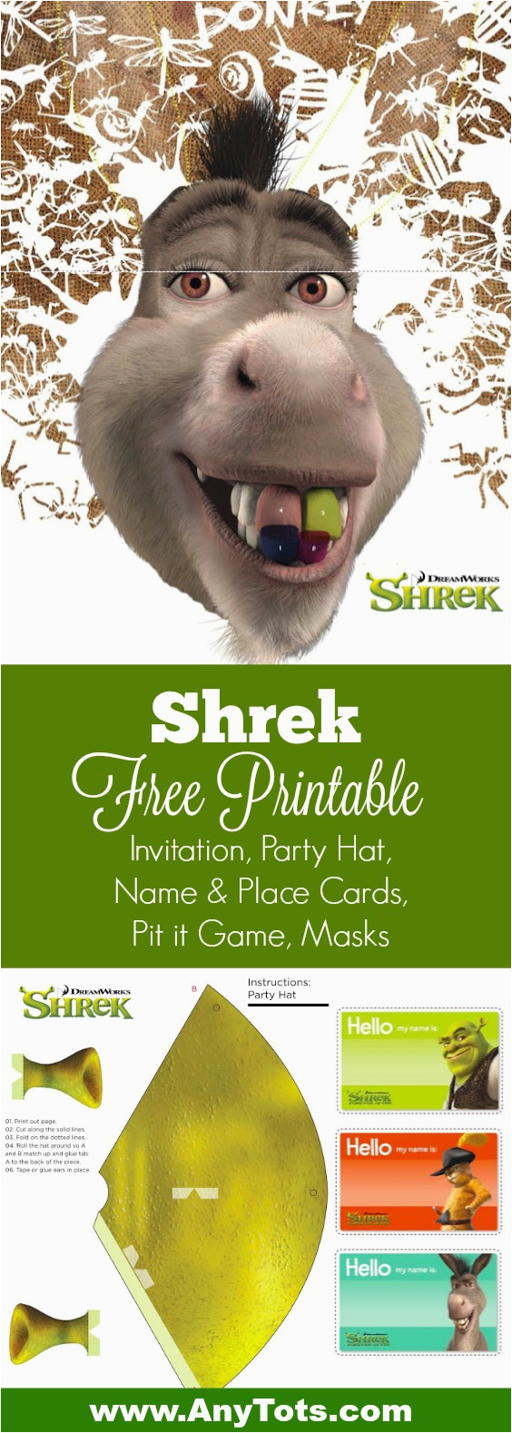 free printable shrek birthday party invitation