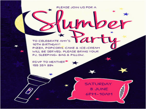 Free Printable Slumber Party Birthday Invitations 14 Slumber Party