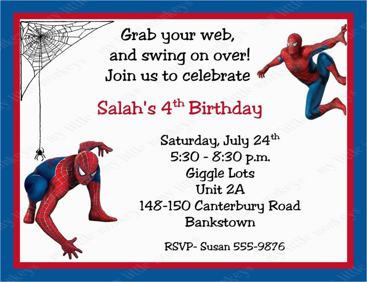 graphic about Printable Spiderman Invitations titled Cost-free Printable Spiderman Birthday Get together Invites