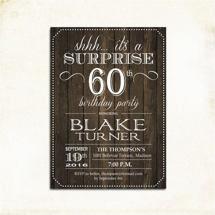 Free Printable Surprise 60th Birthday Invitations Invitation Any Age Rustic