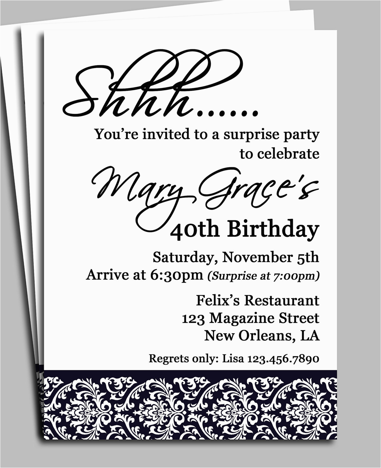 Free Printable Surprise Birthday Invitations Template Black Damask Party Invitation Or Printed