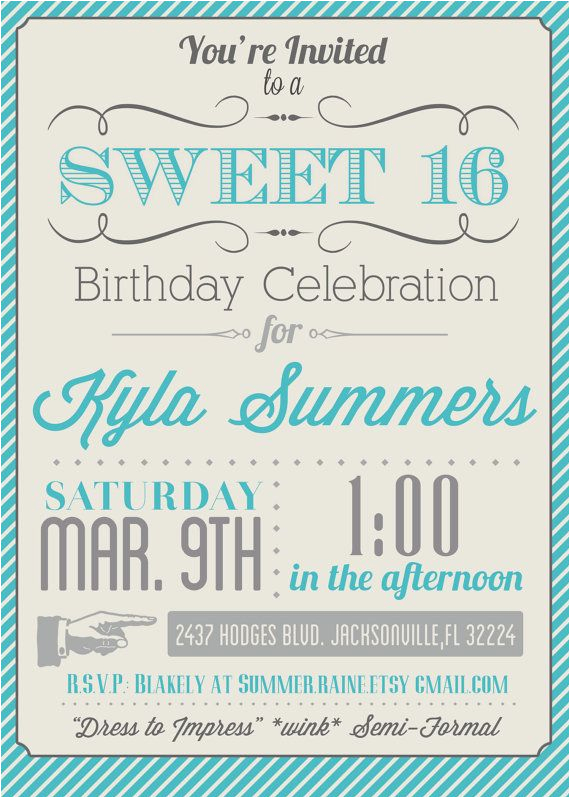 Free Printable Sweet 16 Birthday Party Invitations 8 Best Images Of