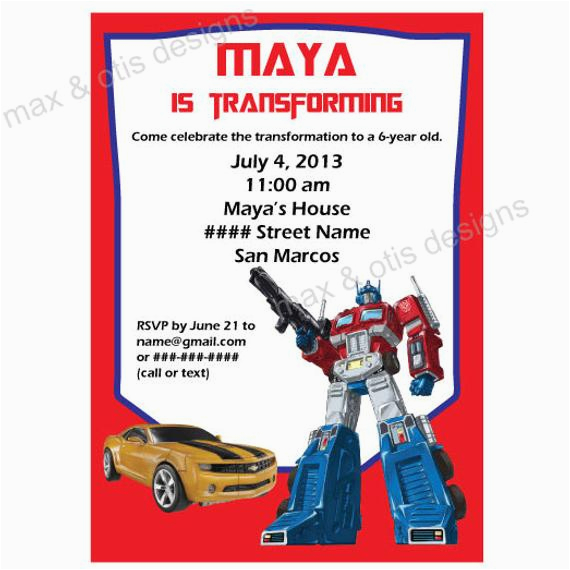 Free Printable Transformer Birthday Invitations Items Similar To