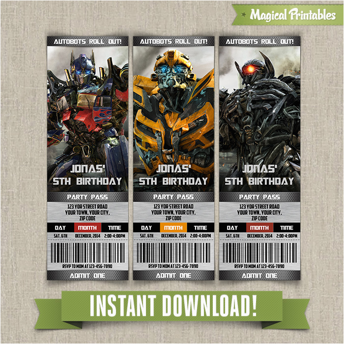 Free Printable Transformer Birthday Invitations Transformers Ticket Invitation Instant Download