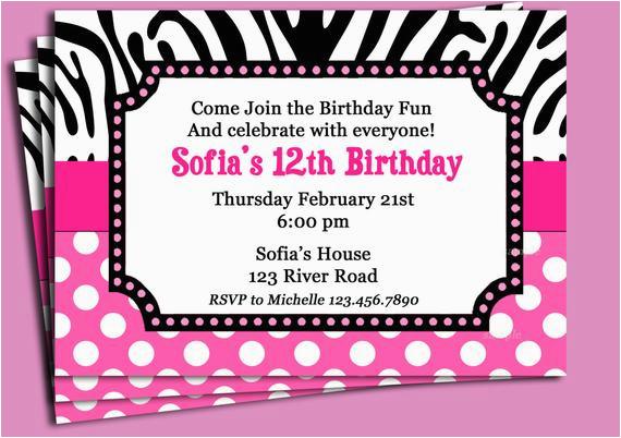zebra print pink polka dot invitation