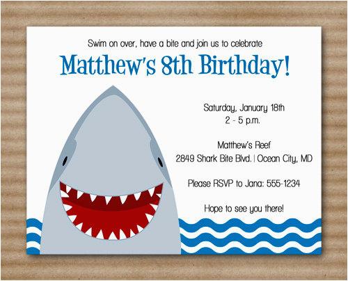 Free Shark Birthday Invitation Template 6 Best Images Of Rh Birthdaybuzz Org Printable Cards