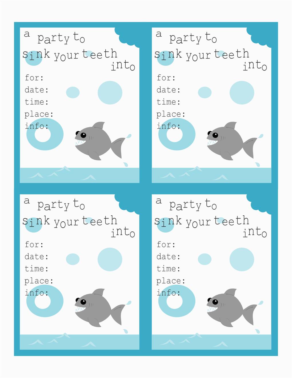 Free Shark Birthday Invitation Template Invitations Printable