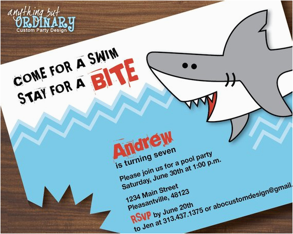 Free Shark Birthday Invitation Template Invitations
