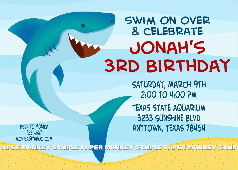 Free Shark Birthday Invitation Template Party