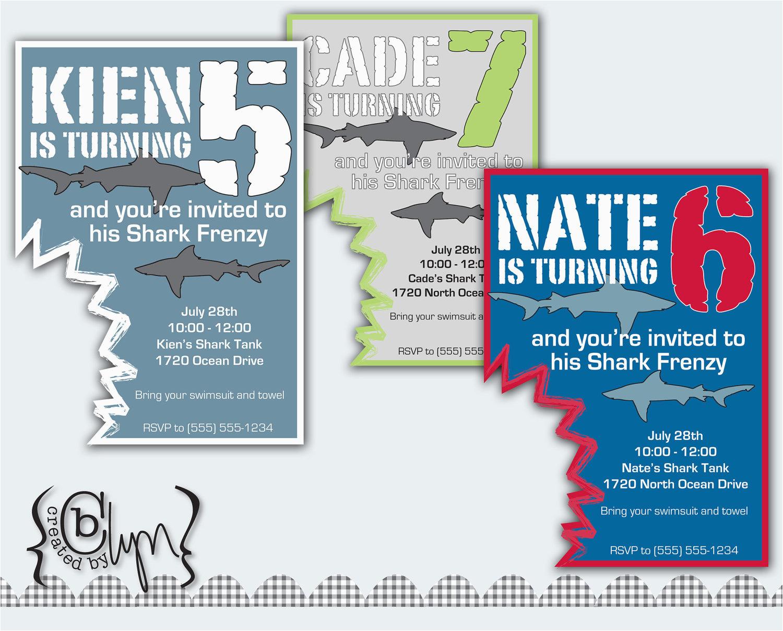Free Shark Birthday Invitation Template Party Invitations