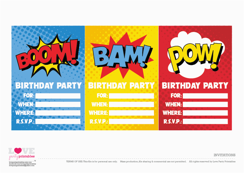 Free Superhero Birthday Invitations Party Printables Catch My