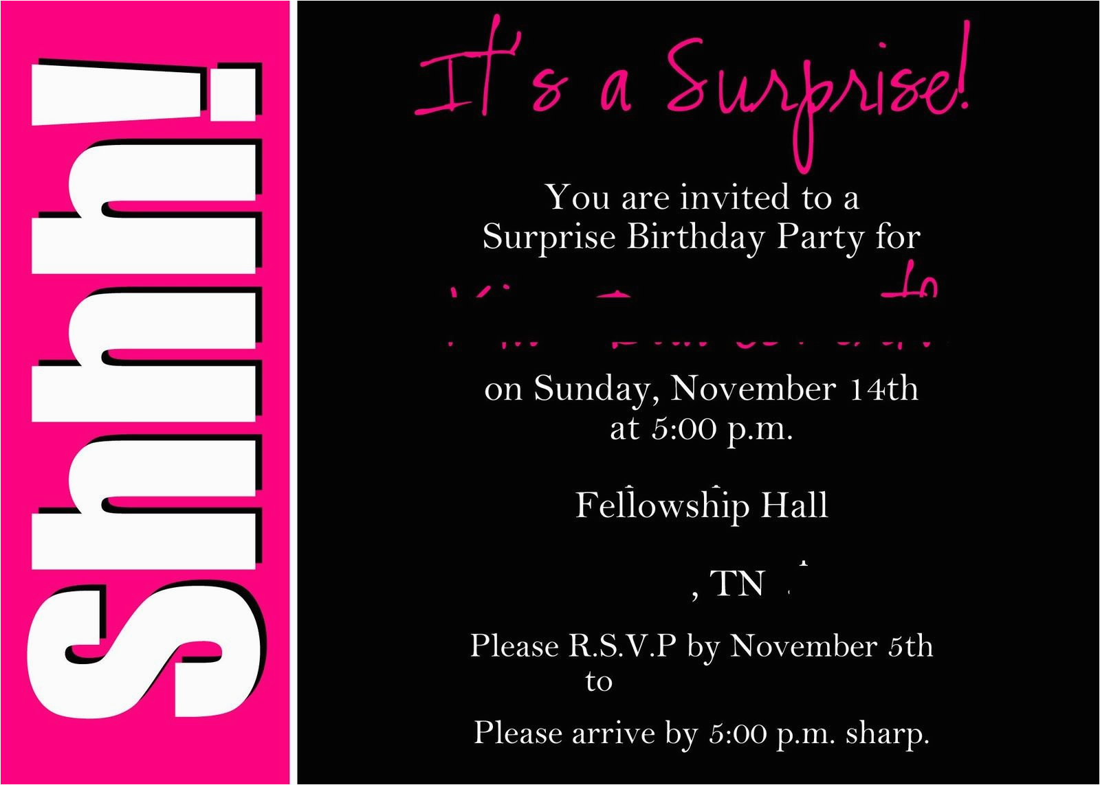 Free Surprise Birthday Party Invitations 50th Templates Invites