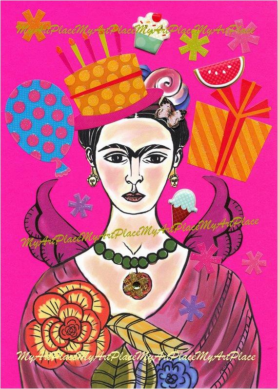 Frida Kahlo Birthday Card Frida Kahlo Art original Collage Frida Celebrates by