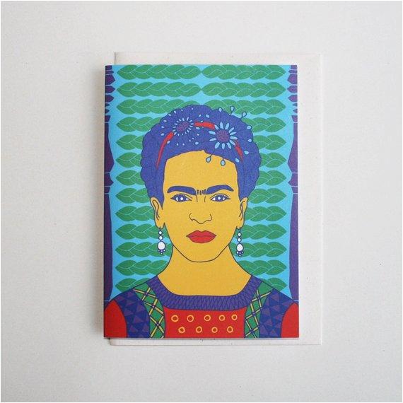 frida kahlo greeting card by lulu kitololo