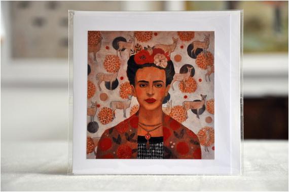 homage to frida frida kahlo greeting card with envelope