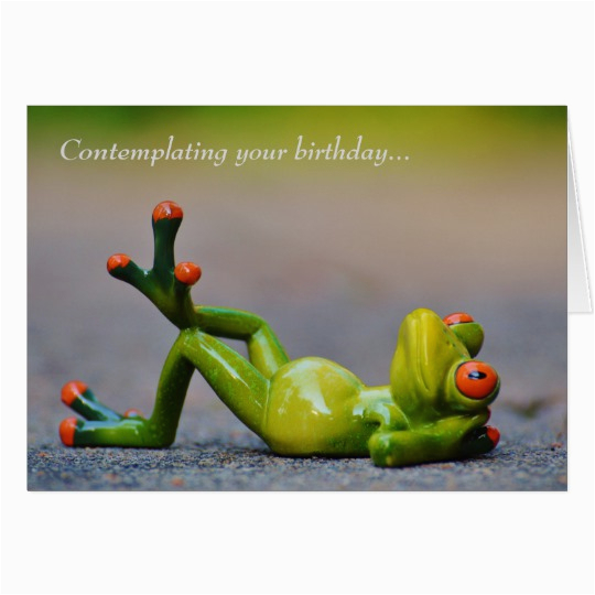 funny green frog birthday card zazzle com