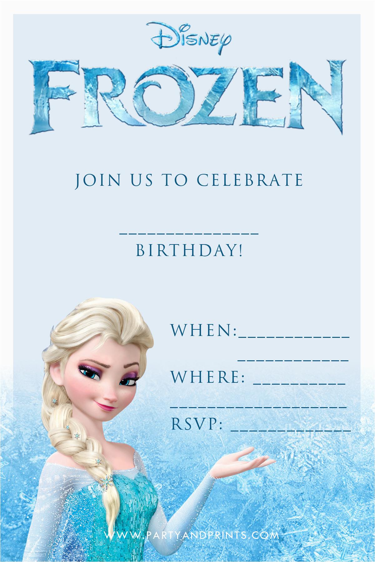 Frozen Themed Birthday Invitation Cards 20 Frozen Birthday Party