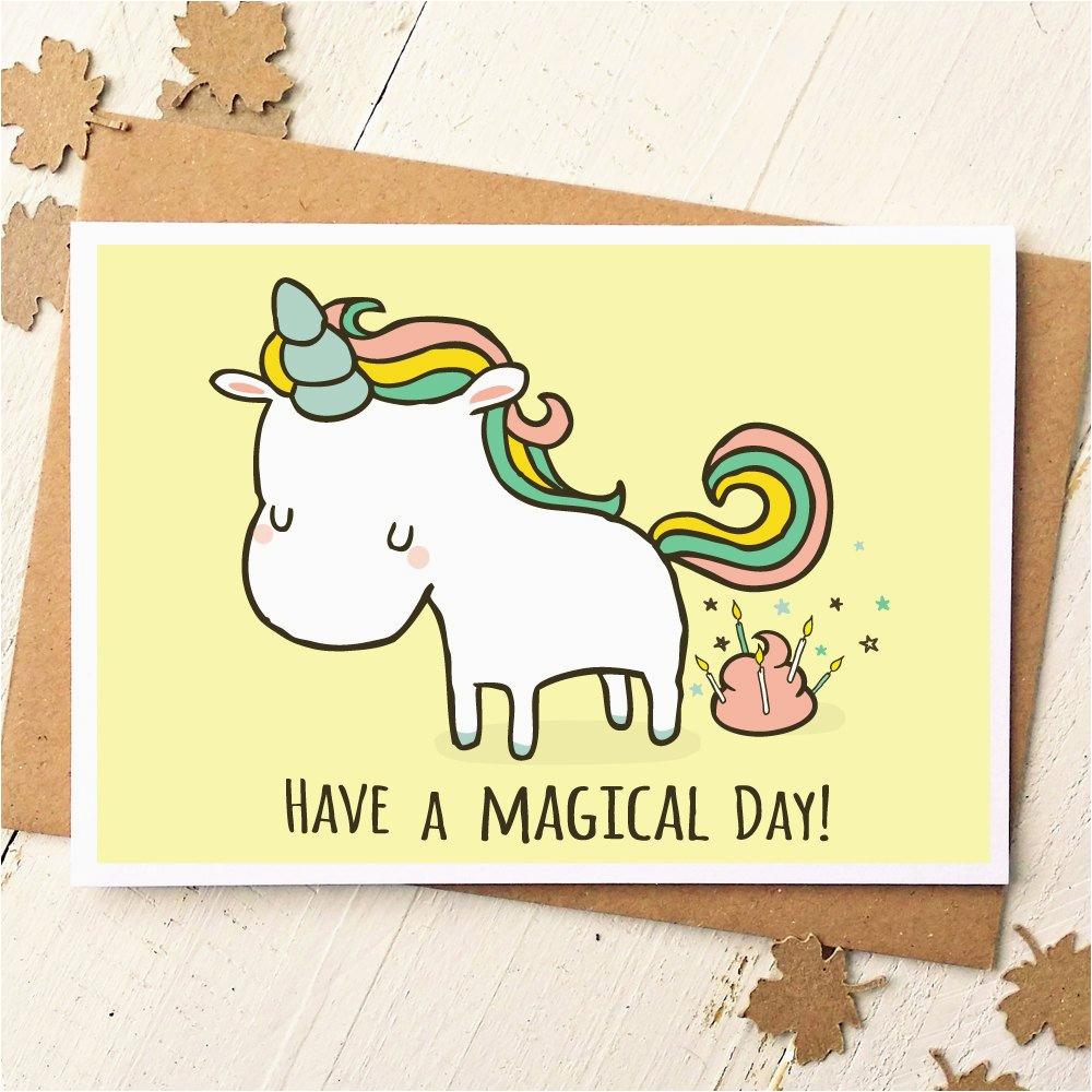 unicorn card funny birthday card unicorn