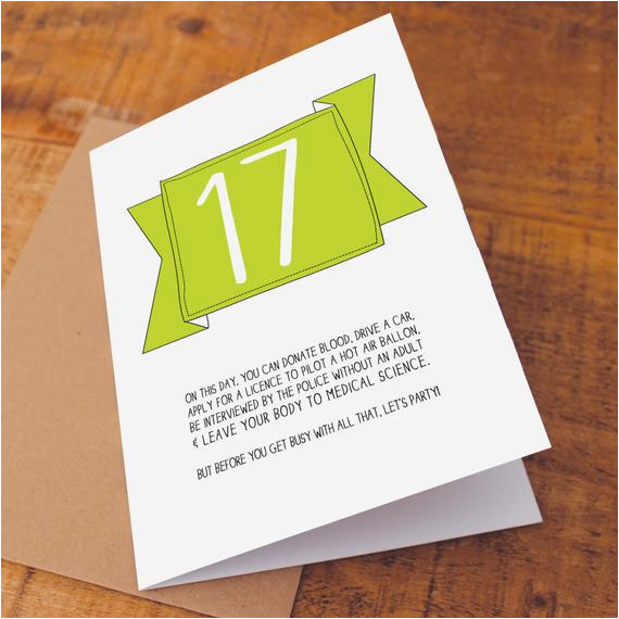 17th birthday card funny birthday card funny 17 card on