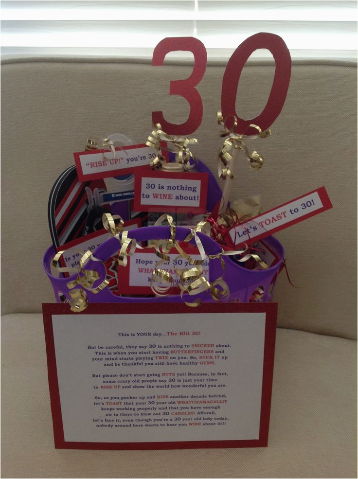 Funny 30th Birthday Gifts For Her Gift Basket Easy Diy And So Fun