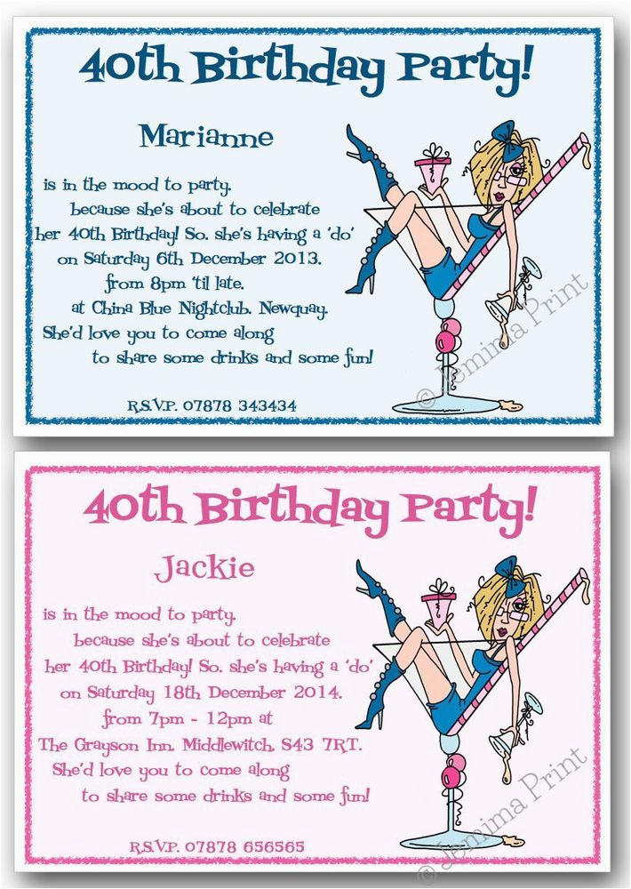 Funny 40th Birthday Invites 18th 21st 30th 50th 60th Personalised