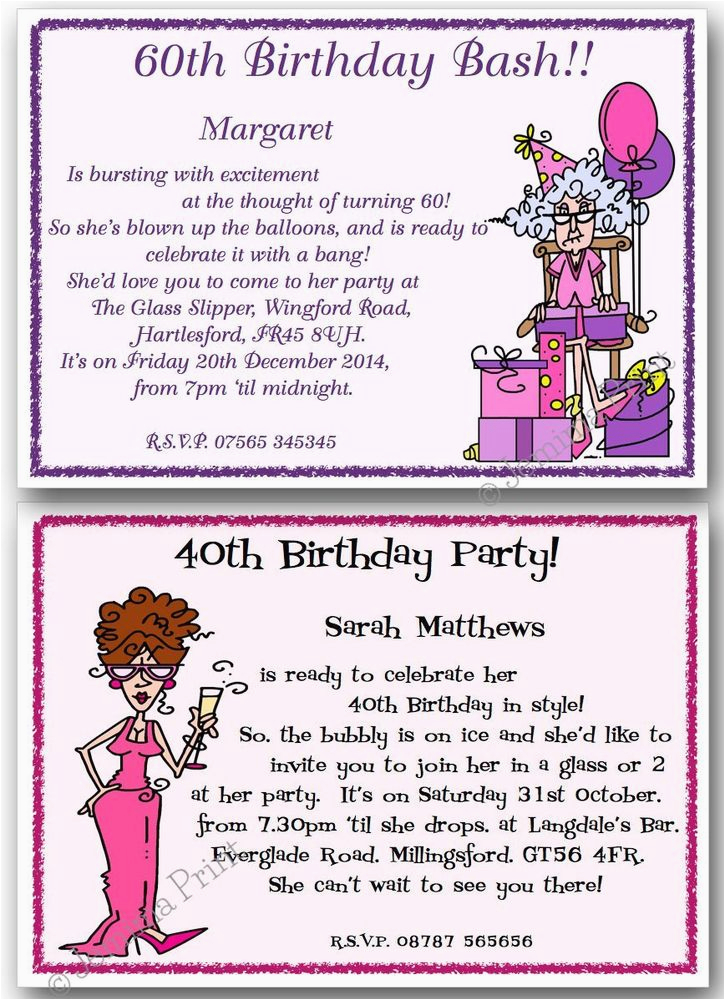 Funny 40th Birthday Party Invitations 30th 50th 60th 70th 80th Personalised