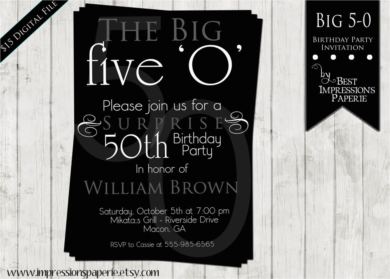 50th birthday party invitations for men