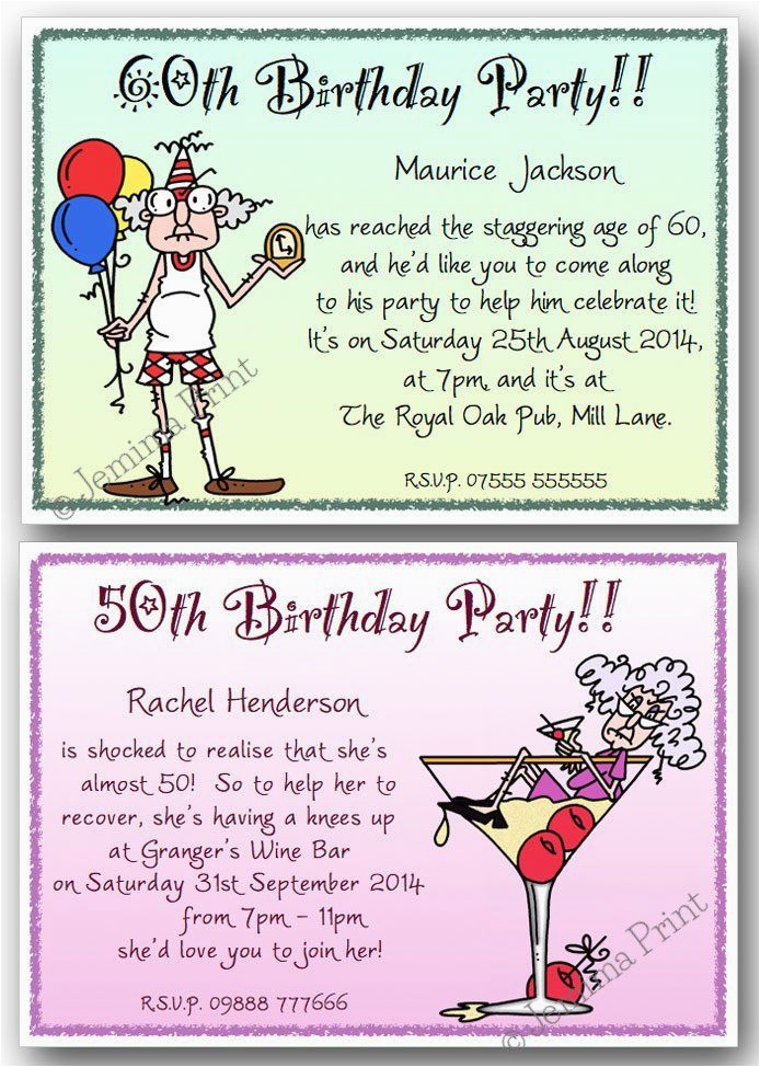 Funny 70th Birthday Invitations 40th 50th 60th 80th 90th Personalised