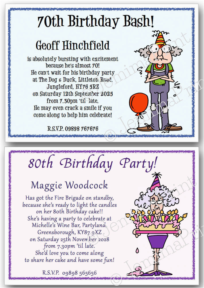 Funny 70th Birthday Invitations Personalised 40th 50th 60th 80th 90th