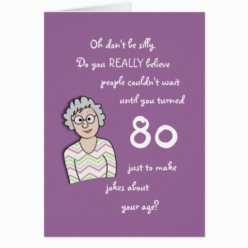 80th birthday for her funny card zazzle