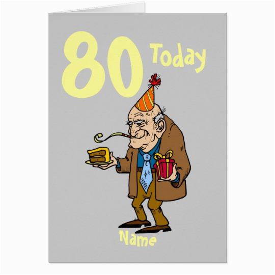 funny 80th birthday cartoon personalized card zazzle com
