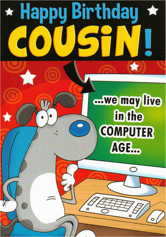 funny humorous male cousin happy birthday card 2 x