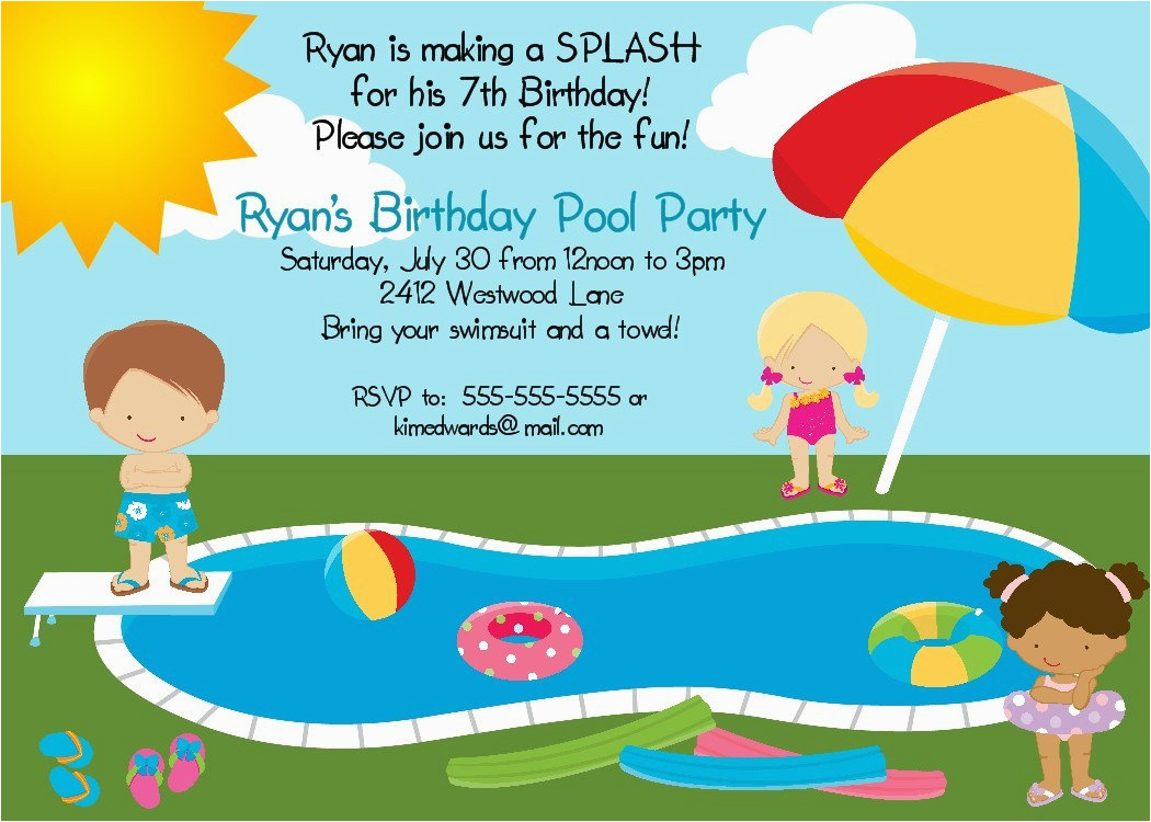 Funny Birthday Invitation Wording For Kids Pool Party Printable Digital File