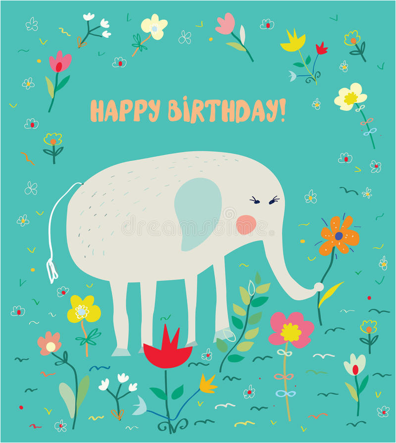 birthday card for kids with elephant and flowers funny