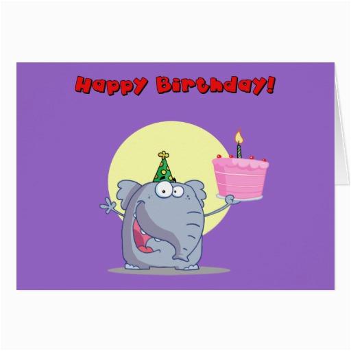 funny elephant with cake happy birthday card zazzle