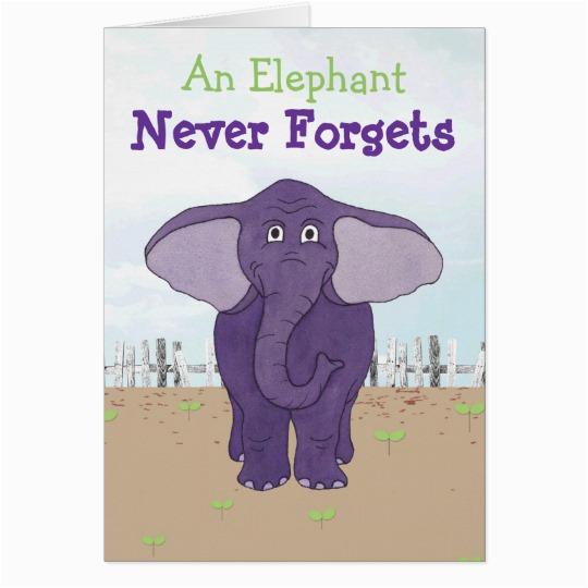funny purple elephant belated birthday card zazzle com