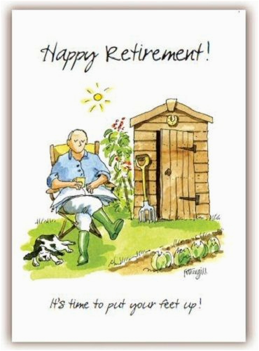funny humour retirement greeting card gardening put feet