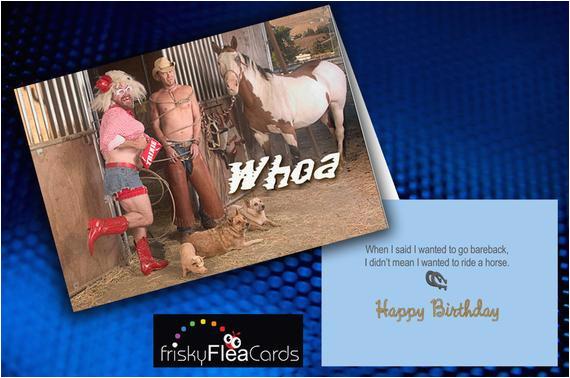 gay funny western themed birthday card by friskyfleacards