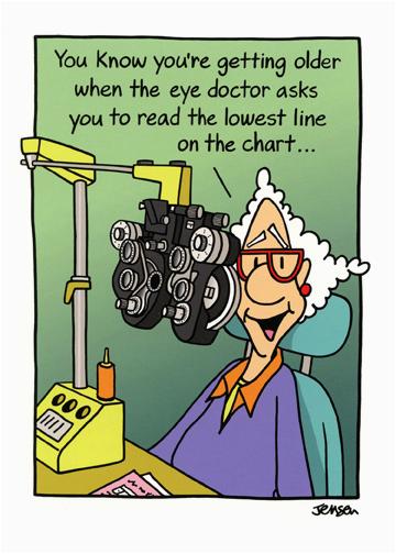 cd11467 woman at eye doctor funny birthday card oatmeal scott jensen