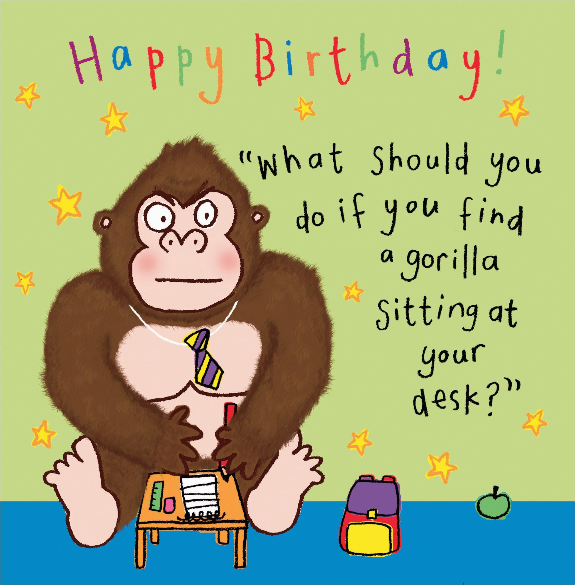 Funny Jokes for Birthday Cards Gorilla Funny Joke Birthday Card for Kids Tw434