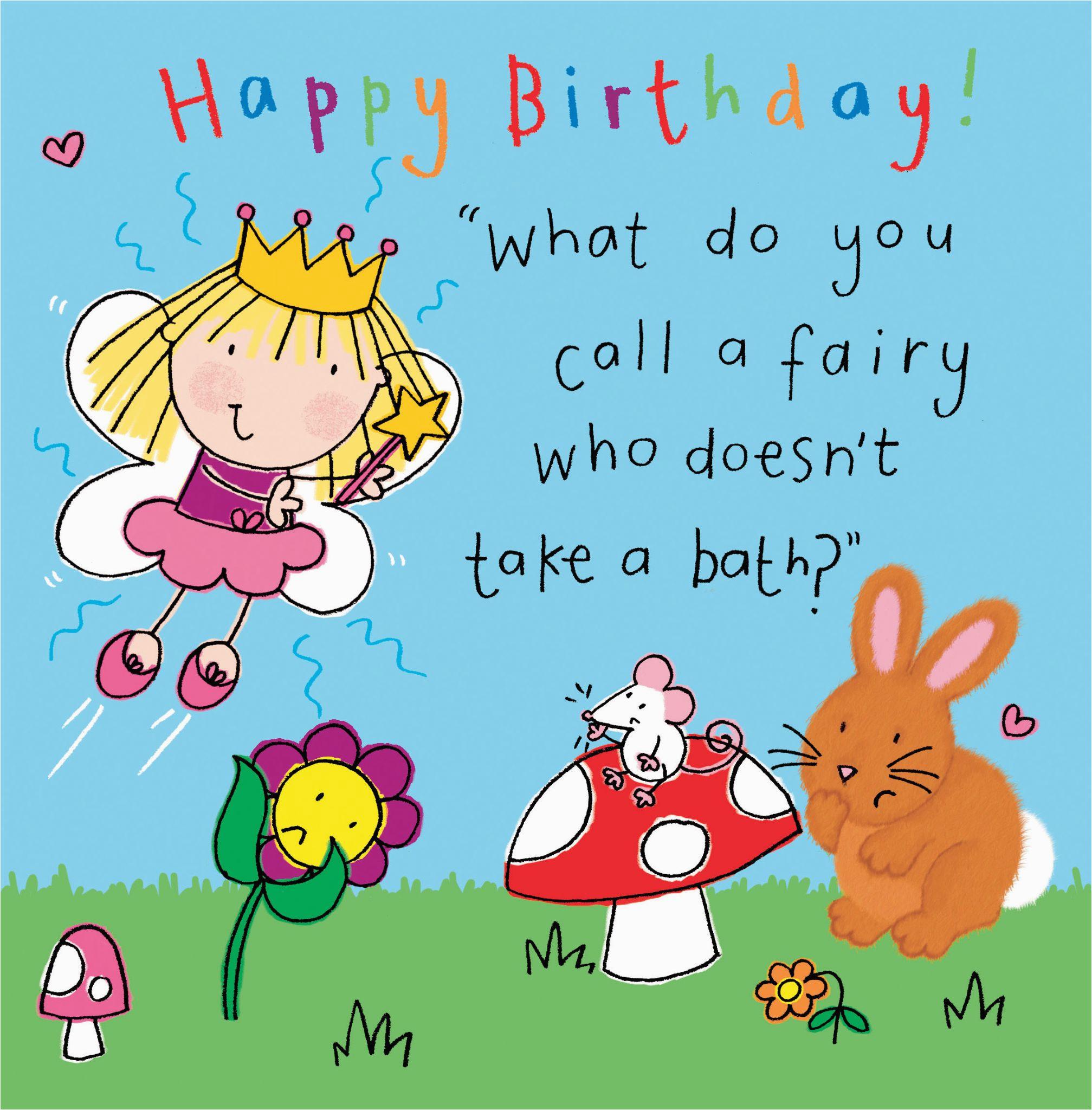 fairy funny joke birthday card for kids tw435 4492 p