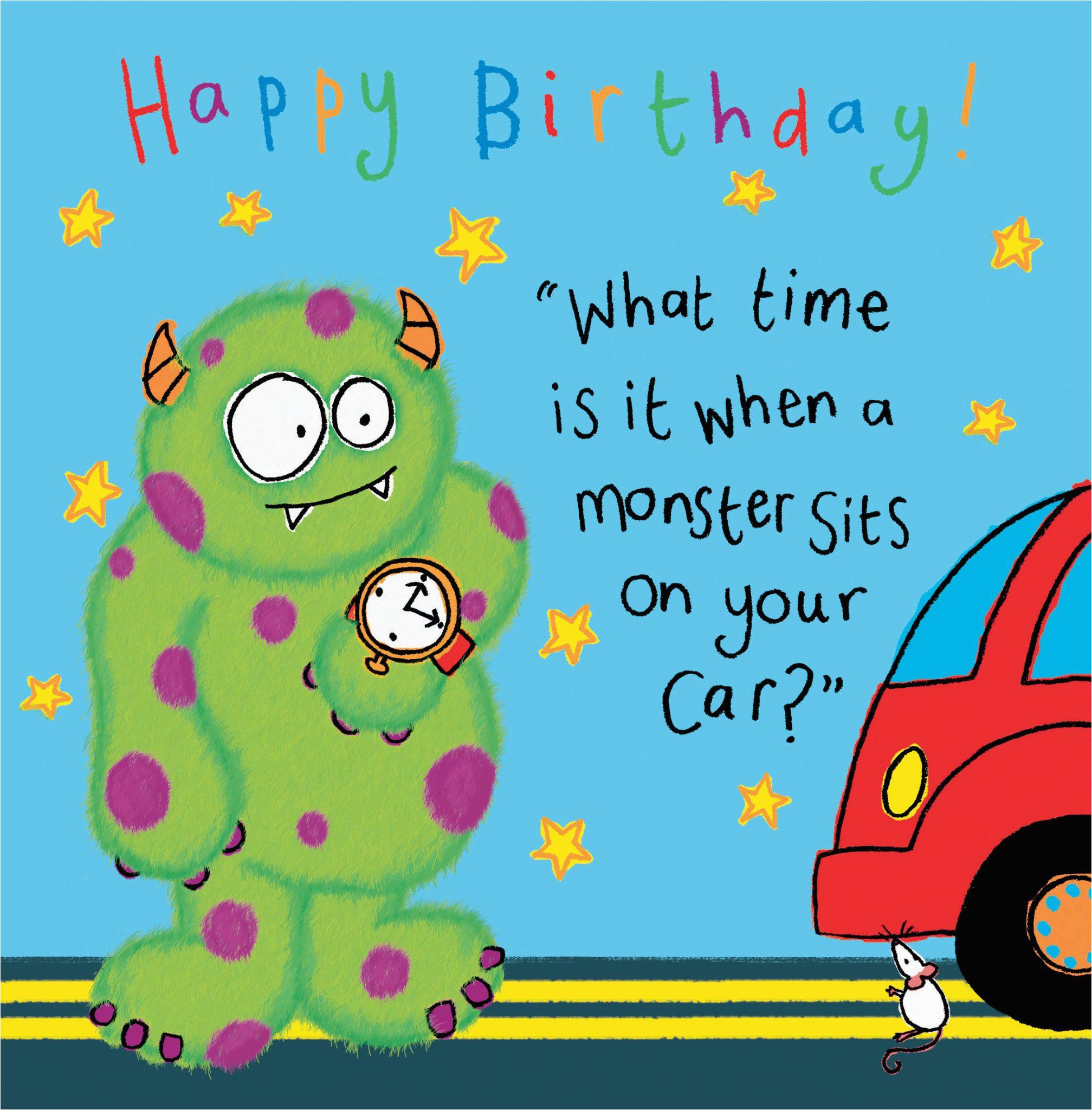 monster funny joke birthday card for kids tw430 4472 p