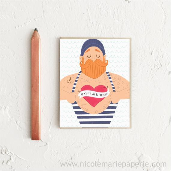 happy birthday card sailor card funny