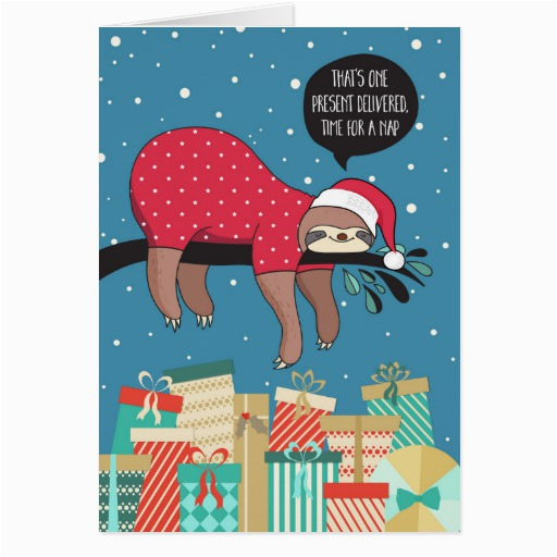 funny christmas card the sloth santa zazzle