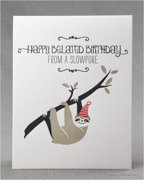 letterpress birthday card slowpoke sloth birthday cards