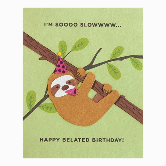 sloth belated birthday card fair trade winds