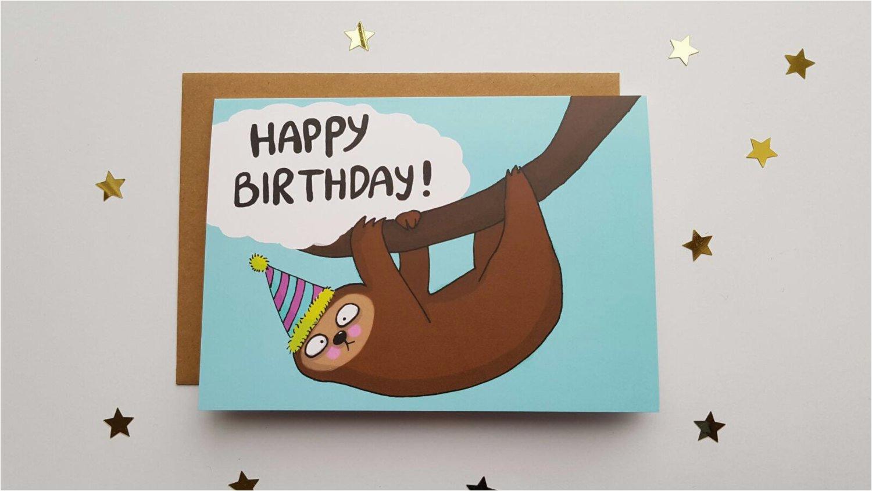 sloth happy birthday card funny cute slow sloth card sloth